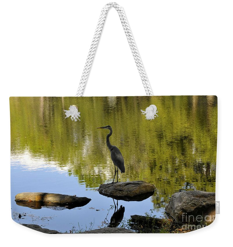 Heron Weekender Tote Bag featuring the photograph Heron By The Lake by David Lee Thompson