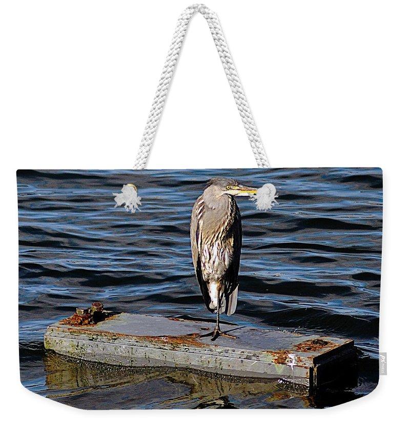 Heron Weekender Tote Bag featuring the photograph Heron by John Hughes