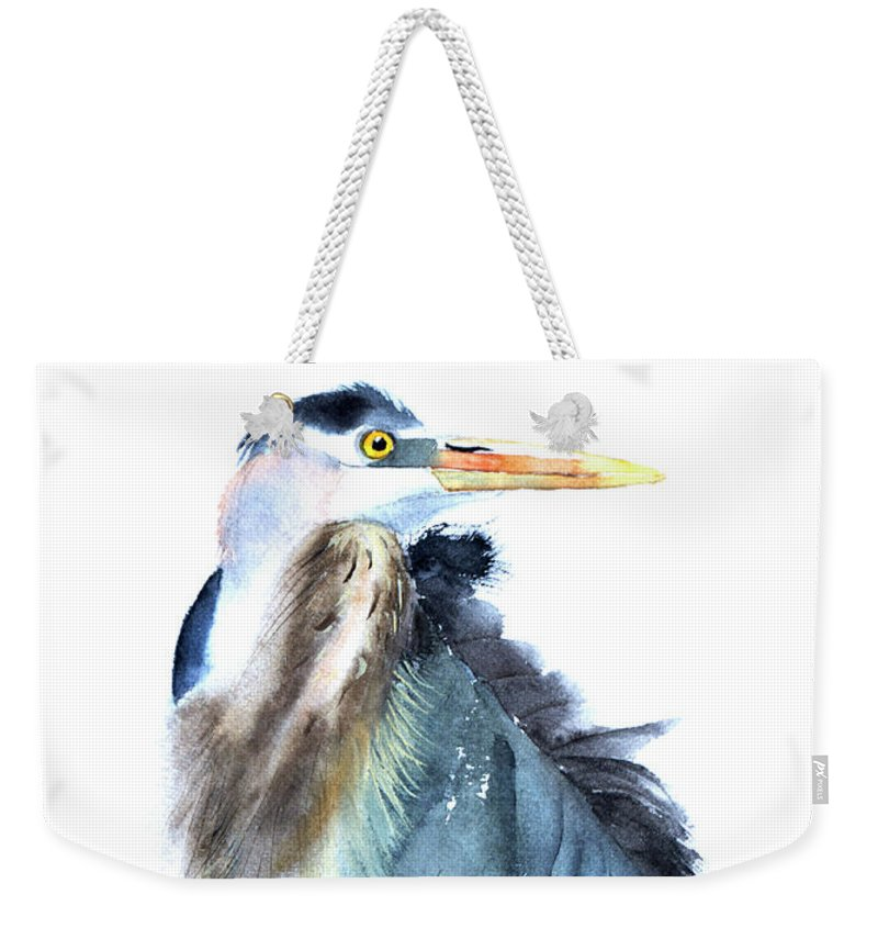 Heron Weekender Tote Bag featuring the painting Heron by Paintis Passion