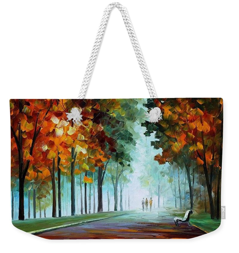 Afremov Weekender Tote Bag featuring the painting Heros From The Fog by Leonid Afremov