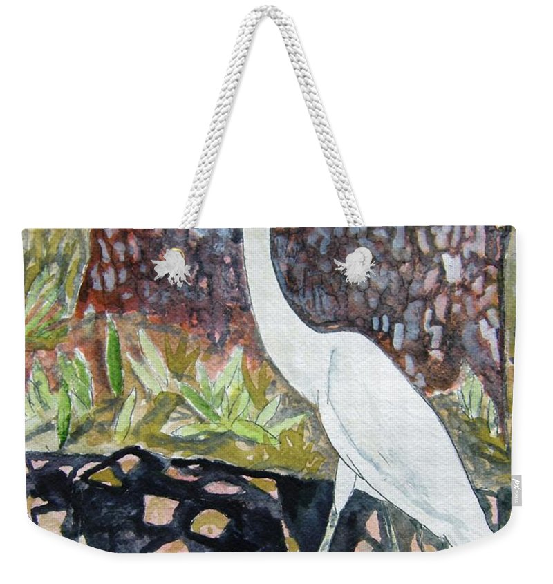 Bird Weekender Tote Bag featuring the painting Herron by Derek Mccrea