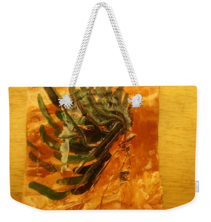 Jesus Weekender Tote Bag featuring the ceramic art Hesitant - Tile by Gloria Ssali