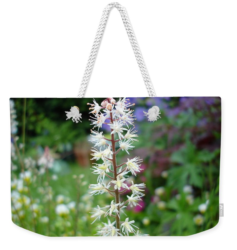 Flower Weekender Tote Bag featuring the photograph Heucharella - Fairy Bells by Susan Baker