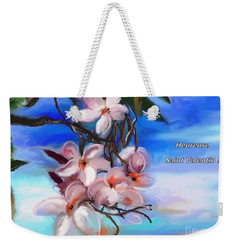Heureuse St Valentin Weekender Tote Bag featuring the painting Heureuse St Valentin by Aline Halle-Gilbert