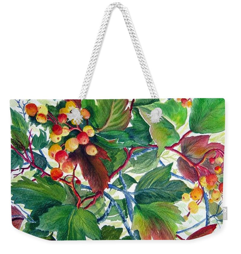 Hi Bush Cranberries Weekender Tote Bag featuring the painting Hi-bush Cranberries by Joanne Smoley