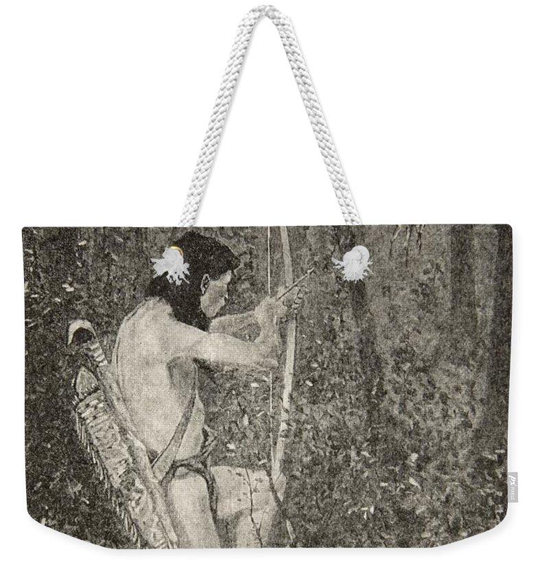 Hiawatha Weekender Tote Bag featuring the drawing Hiawatha by Frederic Remington