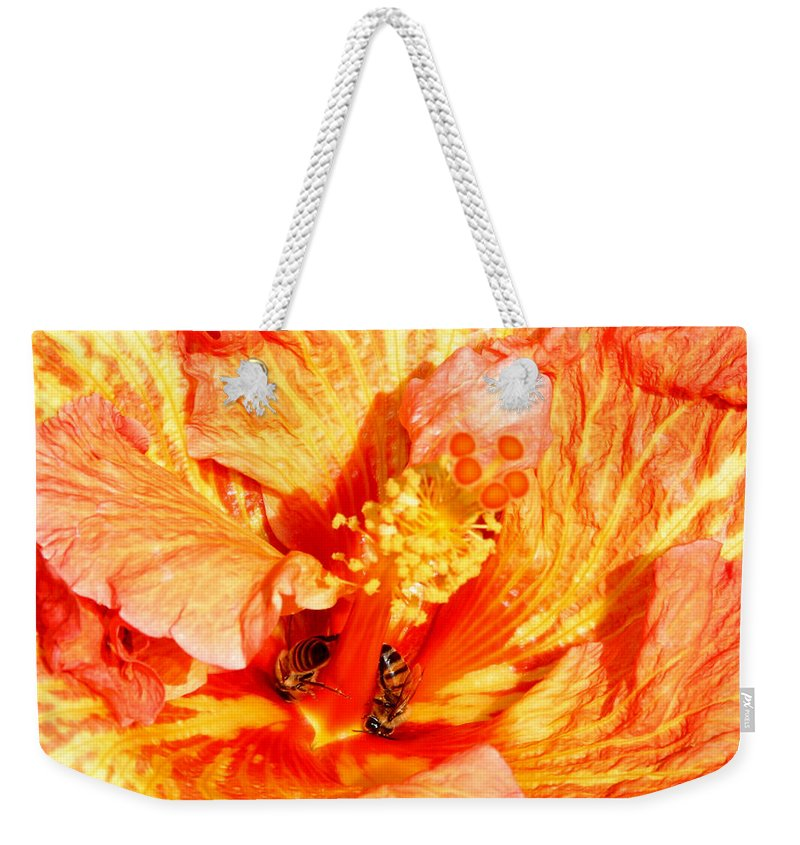 Bees Weekender Tote Bag featuring the photograph Hibiscus And Bees by Anthony Jones