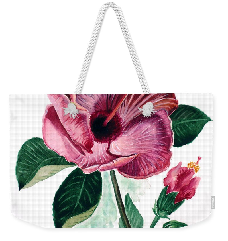 Flora Painting L Hibiscus Painting Pink Flower Painting Greeting Card Painting Weekender Tote Bag featuring the painting Hibiscus Dusky Rose by Karin Dawn Kelshall- Best