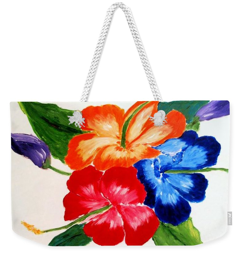 Hibiscus Weekender Tote Bag featuring the painting Hibiscus by Jamie Frier