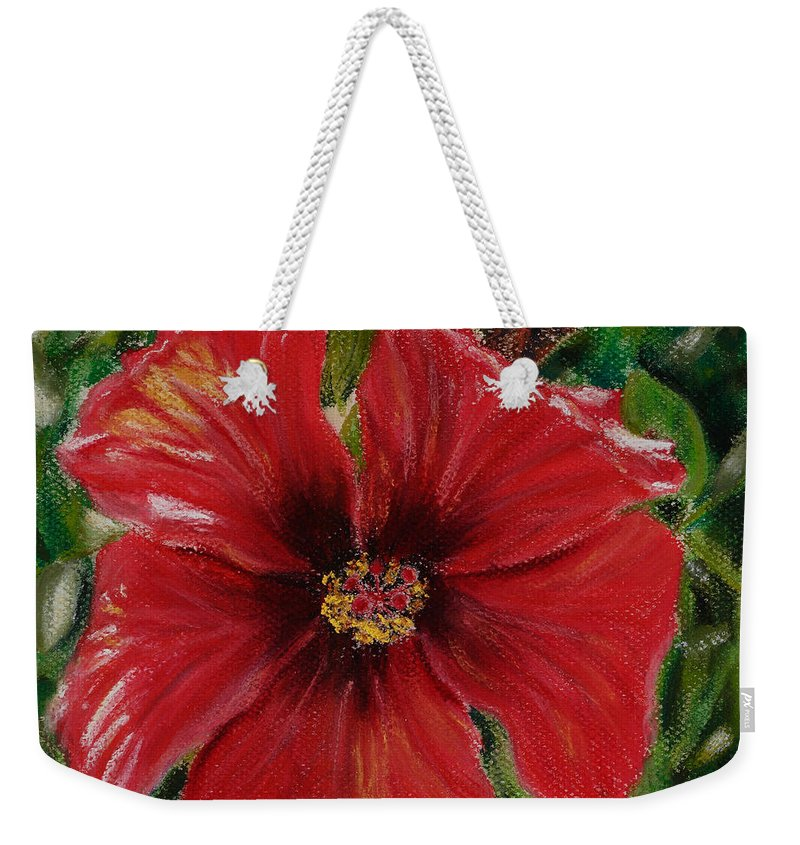 Background Weekender Tote Bag featuring the painting Hibiscus by Mary Benke