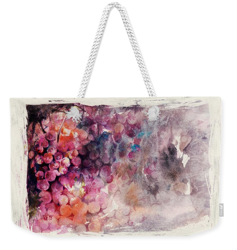 Grapes Weekender Tote Bag featuring the painting Hidden Beauty by Rachel Christine Nowicki