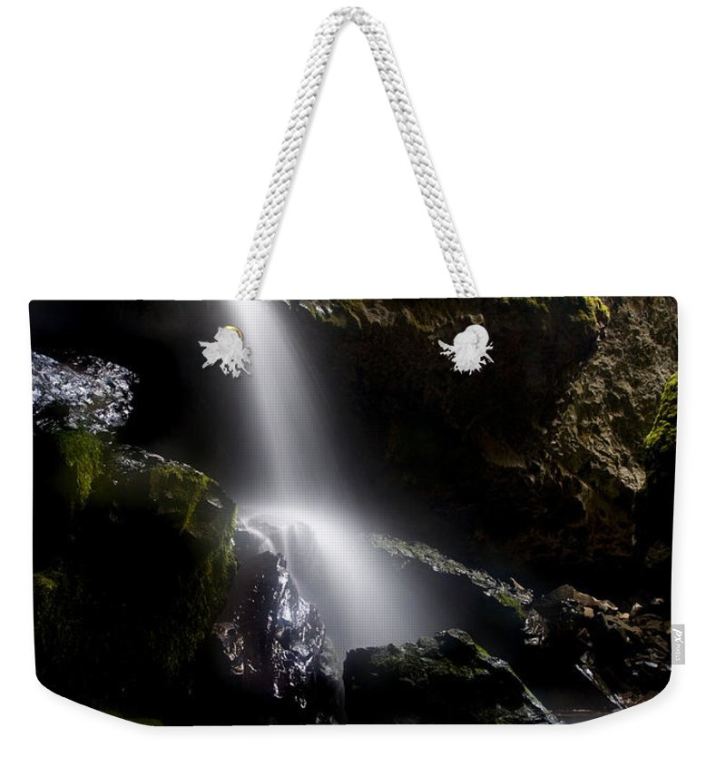 Waterfall Weekender Tote Bag featuring the photograph Hidden Falls by Mike Dawson