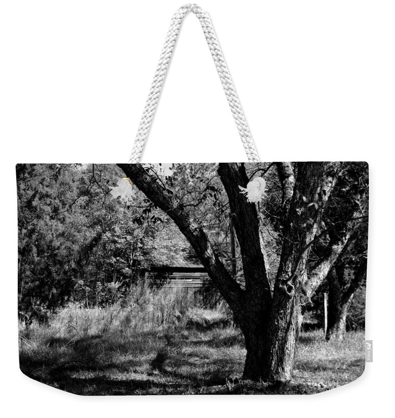 Barns Weekender Tote Bag featuring the photograph Hidden History Black And White by Lisa Wooten