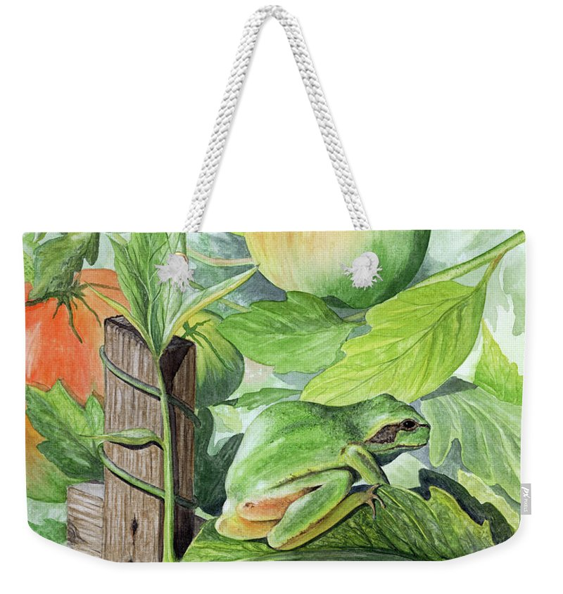 Frog Weekender Tote Bag featuring the painting Hidden II by Mary Tuomi