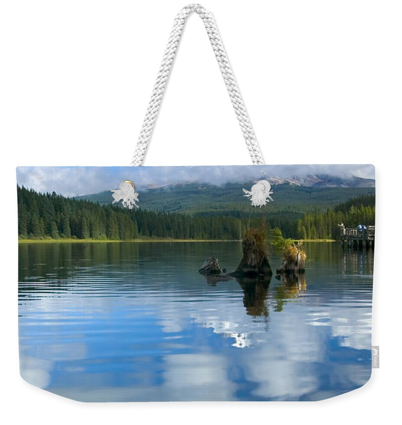 Mt. Hood Weekender Tote Bag featuring the photograph Hidden In Fleece by Mike Dawson