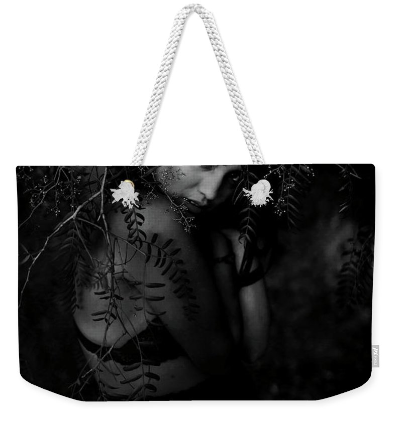 Black And White Weekender Tote Bag featuring the photograph Hidden by Paige Freier