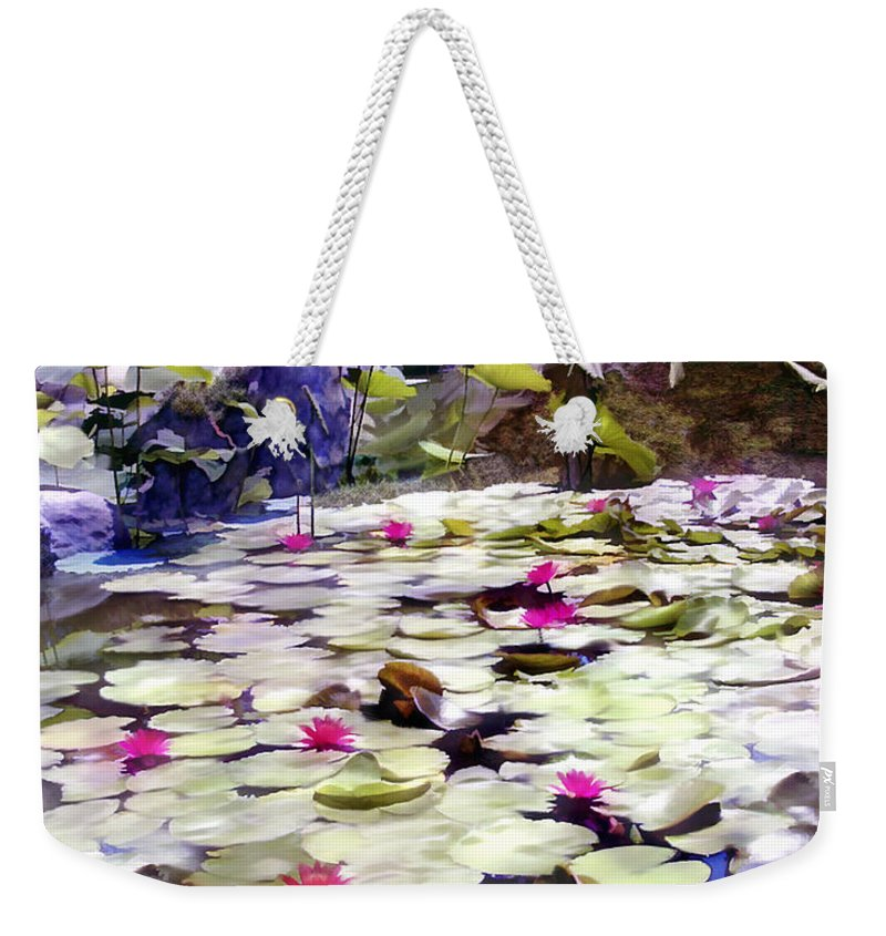 Lotus Weekender Tote Bag featuring the photograph Hidden Pond Lotusland by Kurt Van Wagner