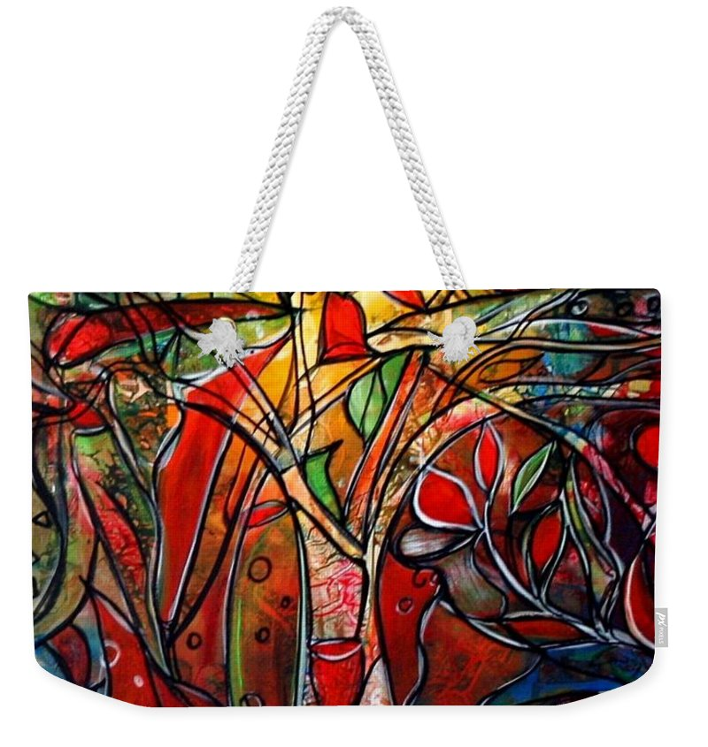 Landscape Weekender Tote Bag featuring the painting Hidden Treasure by Luiza Vizoli