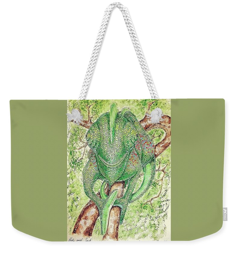 Chameleon Weekender Tote Bag featuring the painting Hide And Seek by Ralph Ezwilt Farmer