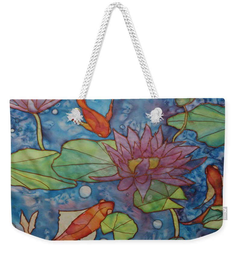 Gold Fish Weekender Tote Bag featuring the painting Hide And Seek by Ruth Kamenev