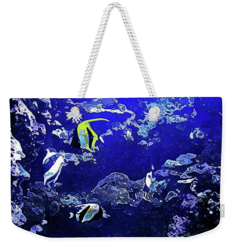 Aquarium Weekender Tote Bag featuring the digital art Hiding Fish by Joan Minchak