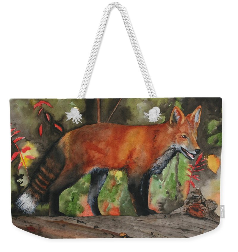 Fox Weekender Tote Bag featuring the painting Hiding In Plain Sight by Jean Blackmer