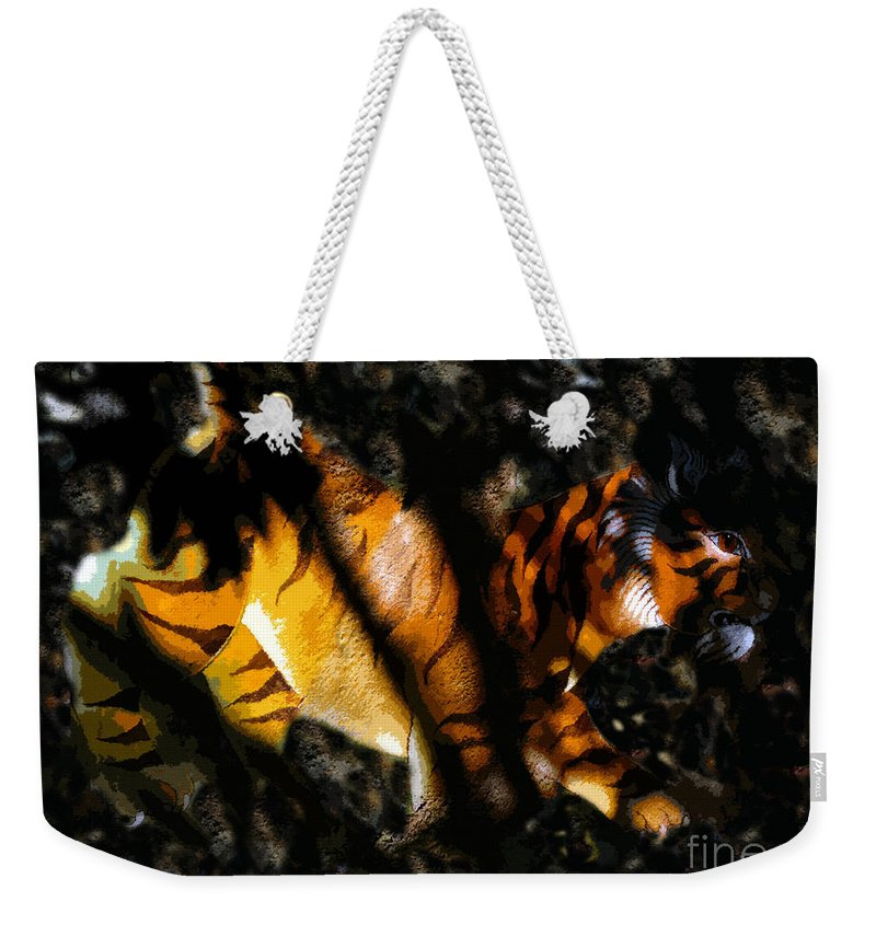Art Weekender Tote Bag featuring the painting Hiding Tiger by David Lee Thompson