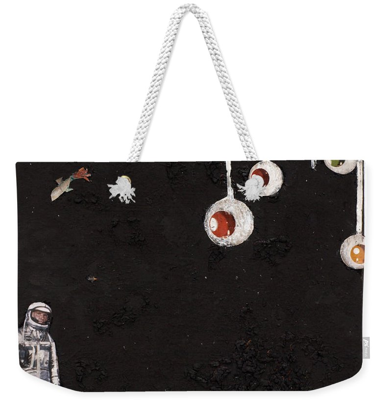 Spaceman Weekender Tote Bag featuring the mixed media High Above Him There by Jaime Becker