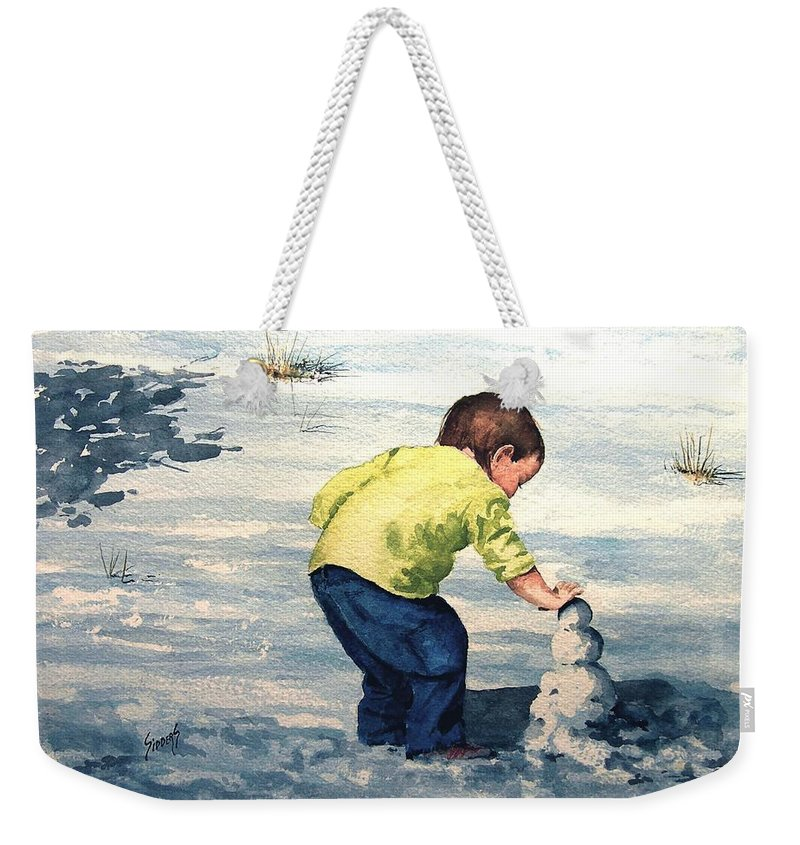 Child Weekender Tote Bag featuring the painting High Country Snow Girl by Sam Sidders