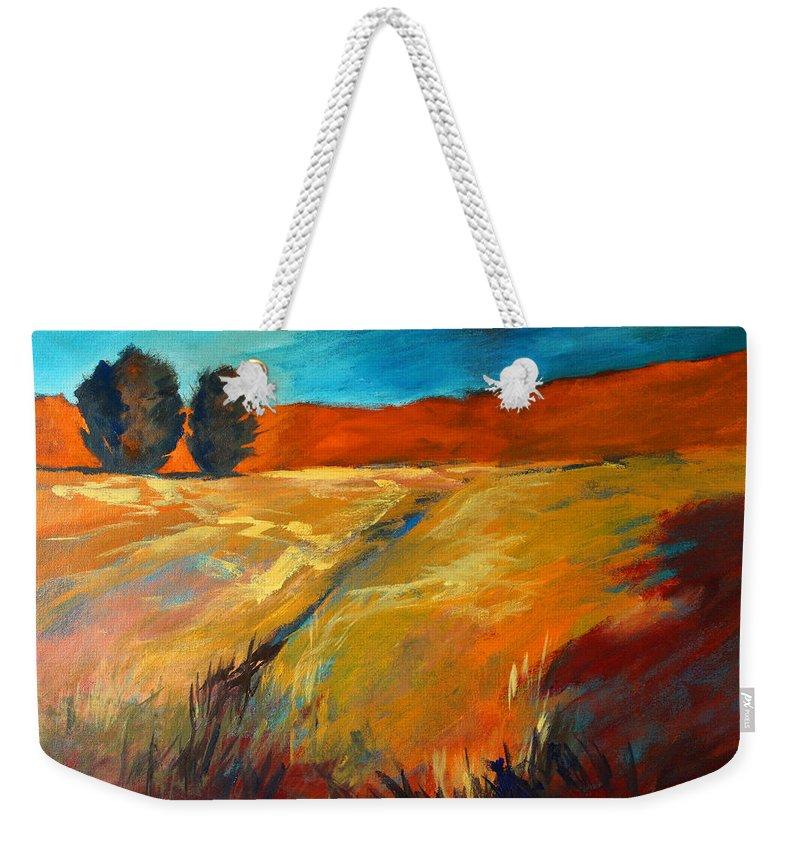 Oregon Landscape Painting Weekender Tote Bag featuring the painting High Desert by Nancy Merkle