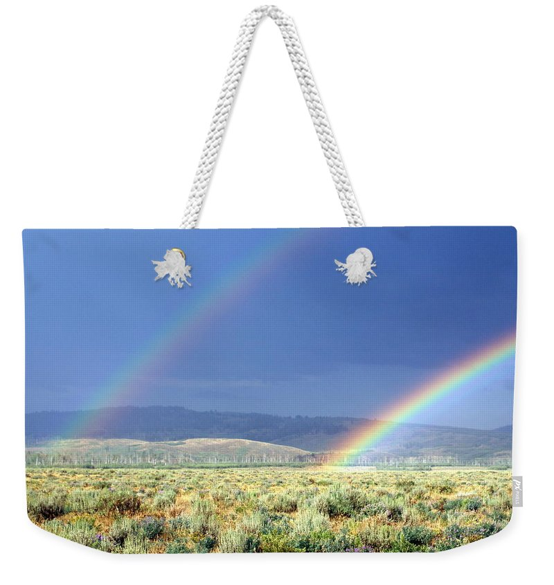Rainbow Weekender Tote Bag featuring the photograph High Dessert Rainbow by Marty Koch