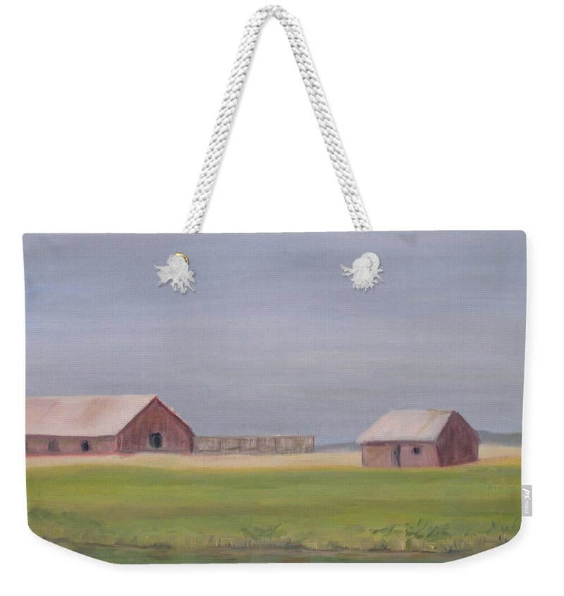 Landscape Plains Barn Weekender Tote Bag featuring the painting High Plains by Patricia Caldwell