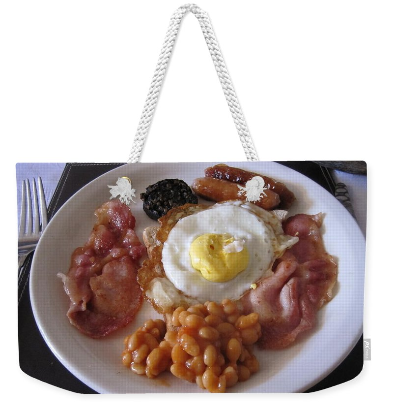 Dining Weekender Tote Bag featuring the photograph High Protein Breakfast by Gail Oleaga