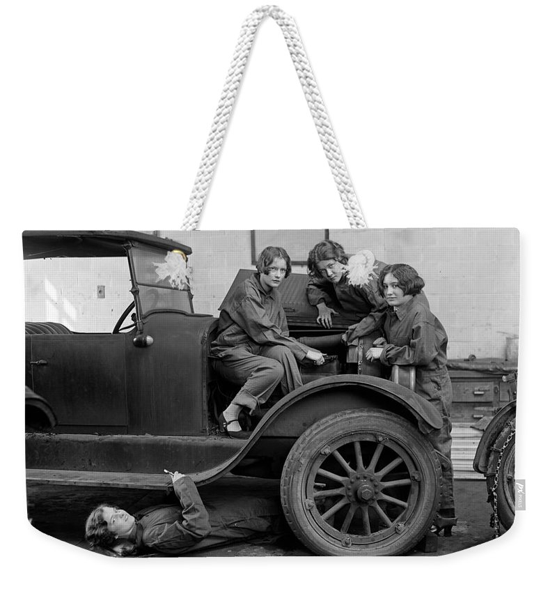 1927 Weekender Tote Bag featuring the photograph High School Mechanics 1927 by Granger