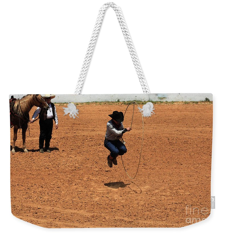 Western Art Weekender Tote Bag featuring the photograph High Steppin Cowboy by Kim Henderson