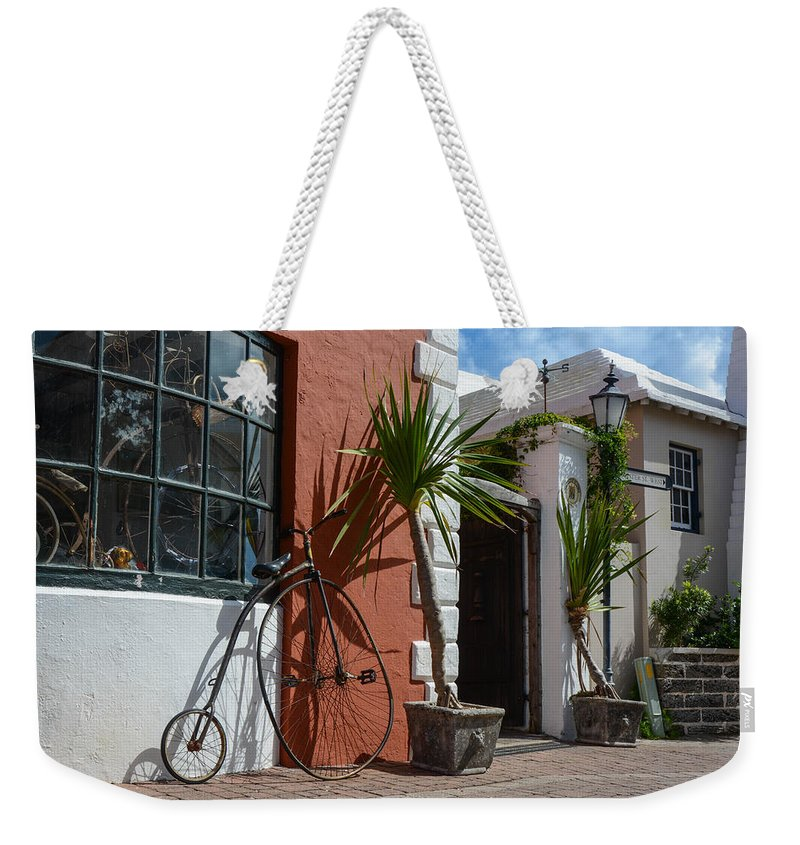 Bike Weekender Tote Bag featuring the photograph High Wheel Bicycle In Bermuda by Nicole Freedman