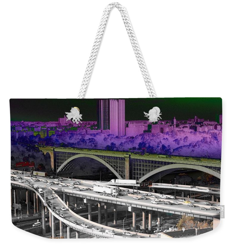 Landscape Bridge Bronx Color Scheme Cars Trucks Sky Highway New York City Weekender Tote Bag featuring the photograph Highbridge Bronx by Remy Champagne