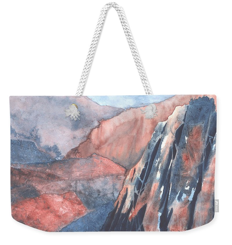 Landscape Weekender Tote Bag featuring the painting Higher Ground by Lynn Quinn