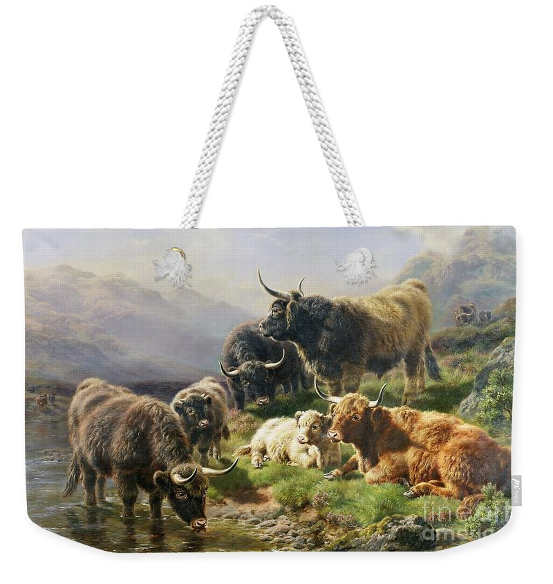 Highland Weekender Tote Bag featuring the painting Highland Cattle by William Watson