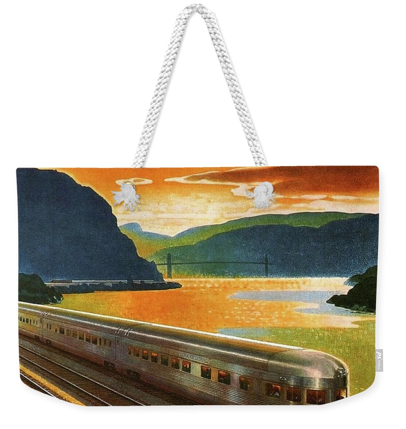 Highlands Weekender Tote Bag featuring the painting Highlands Of Hudson, Railway, Train by Long Shot