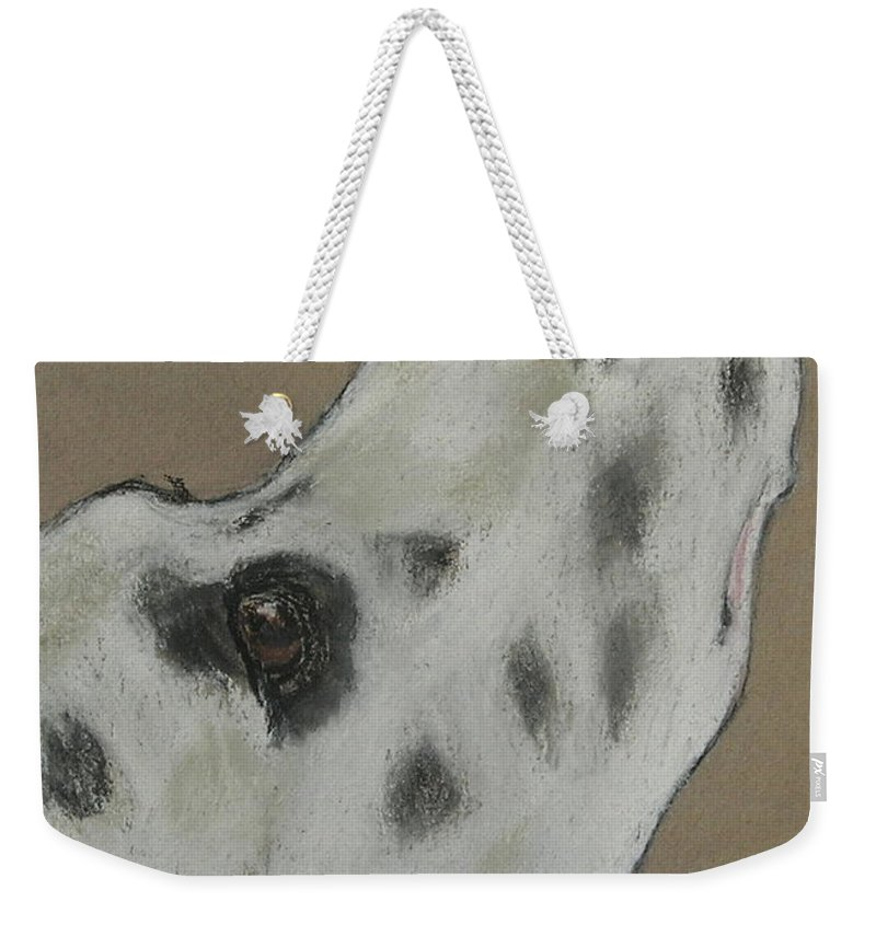 Dalmatian Weekender Tote Bag featuring the drawing Highly Motivated by Cori Solomon