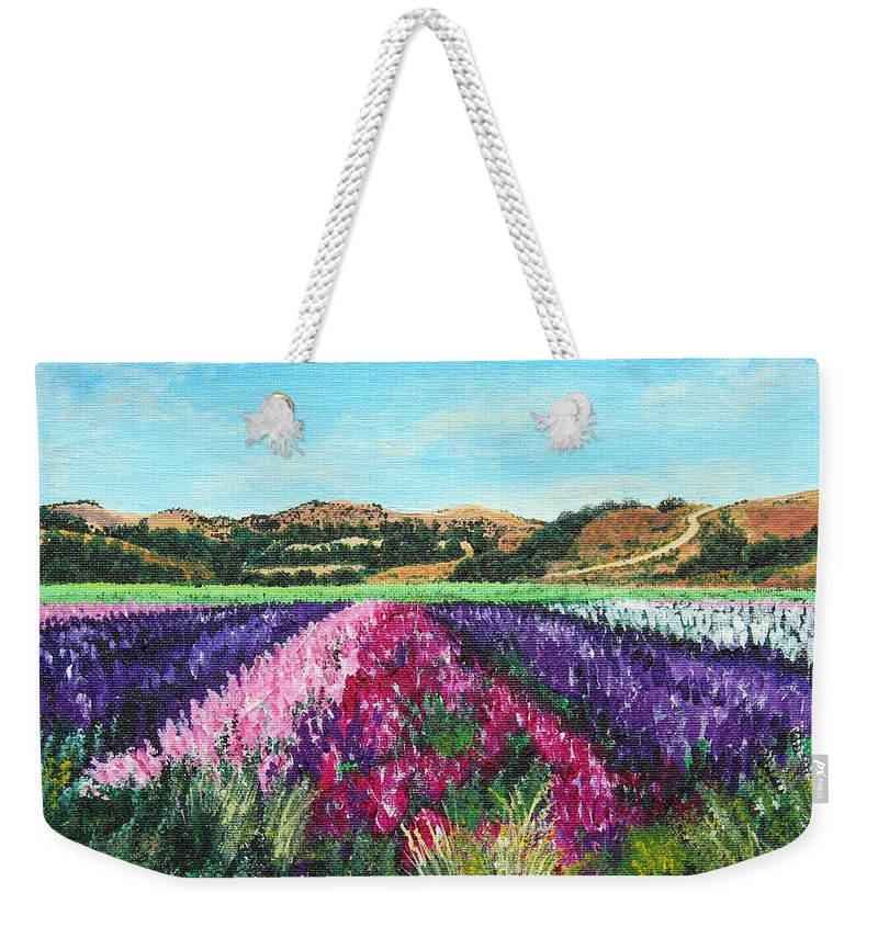 Highway 246 Weekender Tote Bag featuring the painting Highway 246 Flowers 3 by Angie Hamlin