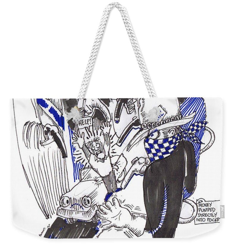 Highway Robbery American Style Weekender Tote Bag featuring the drawing Highway Robbery American Style by Seth Weaver