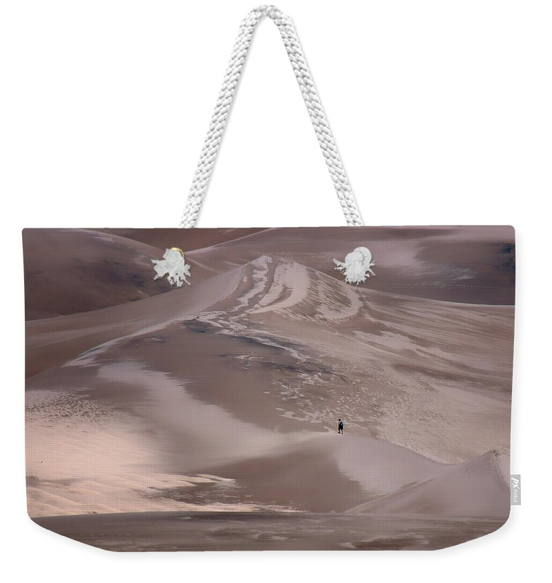 Great Sand Dunes Weekender Tote Bag featuring the photograph Hiker - Great Sand Dunes - Colorado by Nikolyn McDonald