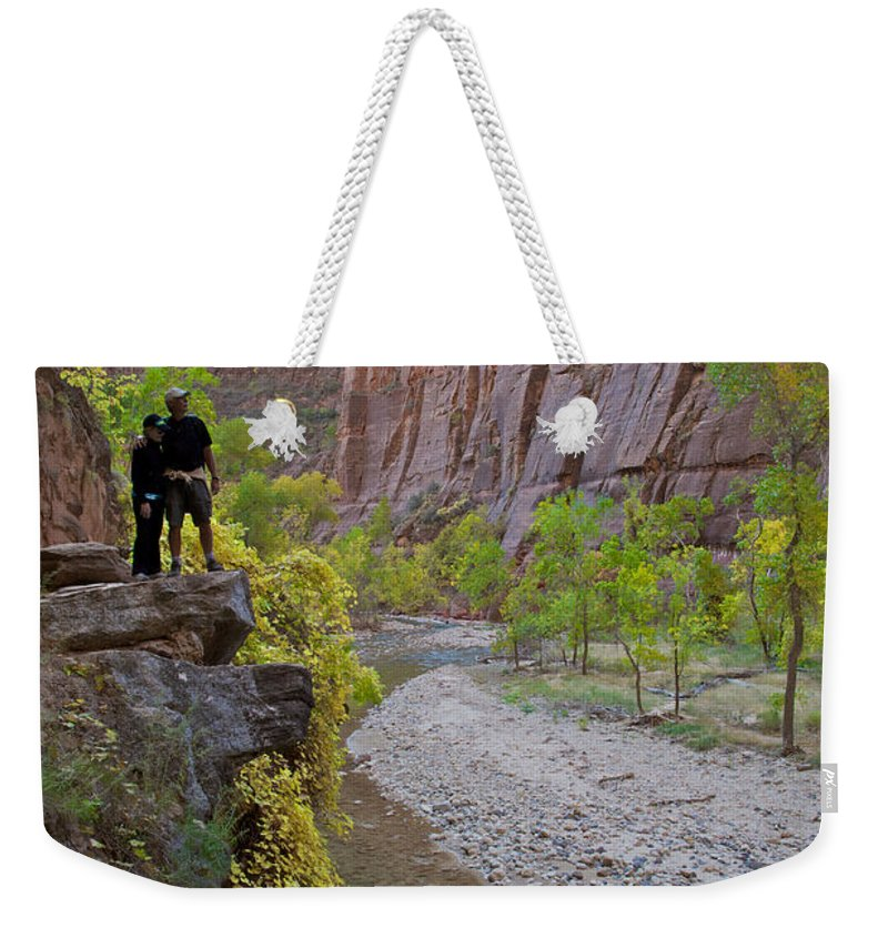 Zion National Park Weekender Tote Bag featuring the photograph Hikers Zion National Park by Daryl L Hunter