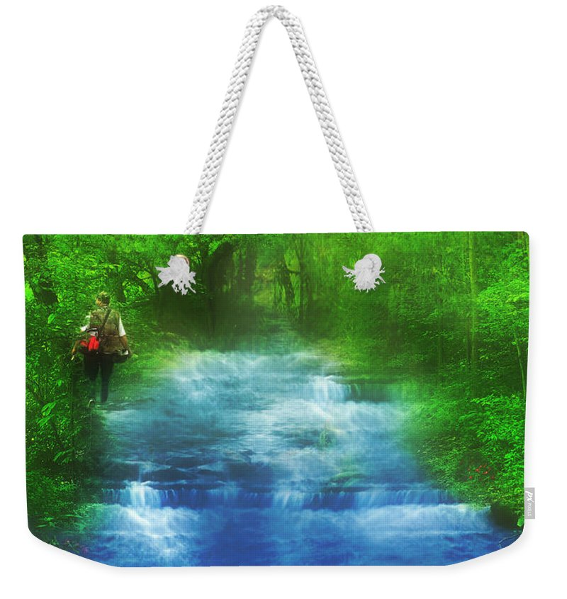 River Weekender Tote Bag featuring the digital art Hiking At The Rivers Edge by Gravityx9 Designs