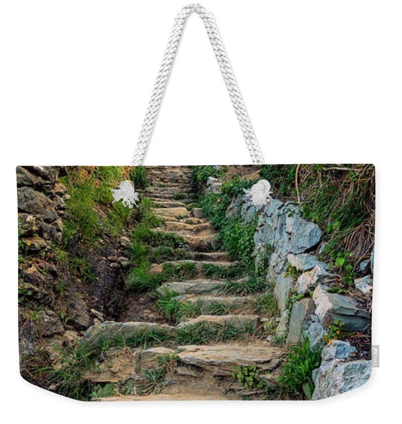 Joan Carroll Weekender Tote Bag featuring the photograph Hiking In Cinque Terre Italy by Joan Carroll