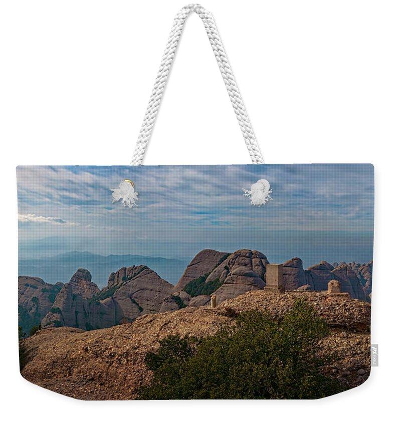 Joan Carroll Weekender Tote Bag featuring the photograph Hiking In Montserrat Spain by Joan Carroll