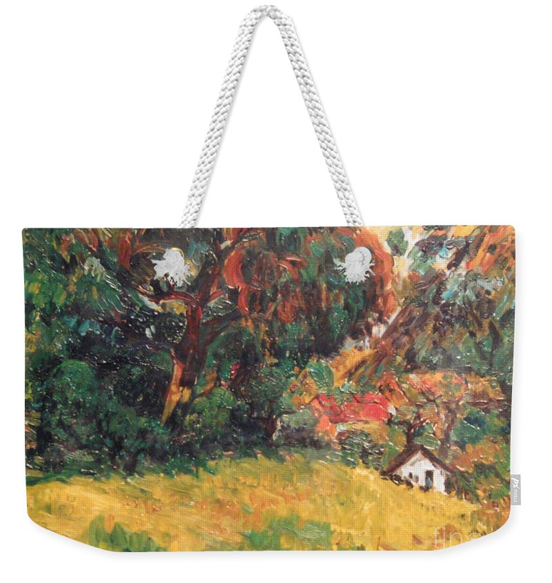 Tree Weekender Tote Bag featuring the painting On the Hill by Meihua Lu