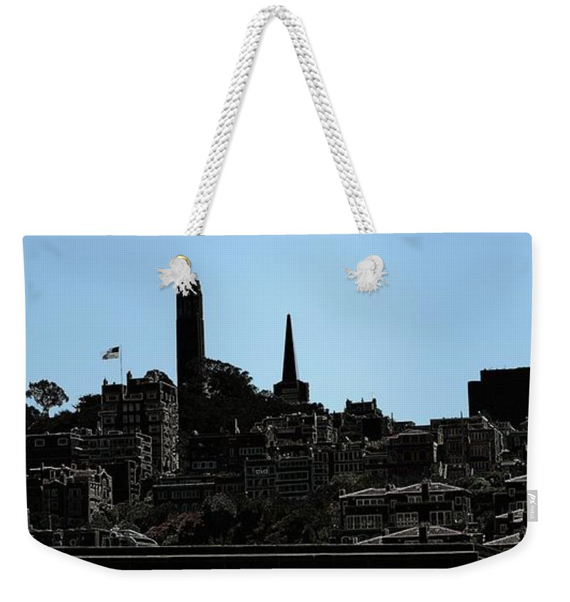 Cityscape Weekender Tote Bag featuring the digital art Hill Top by Ron Bissett